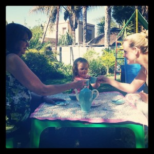 Tea Party with Mom and Ava.